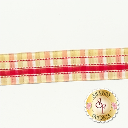"1 1/2"" Stephanoise Wire Edge Ribbon - Red/Gold"