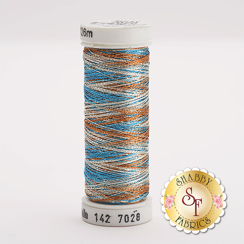 Sulky Original Metallic #7028 Silver/Lt.Copper/Electric Blue 140 yd Thread