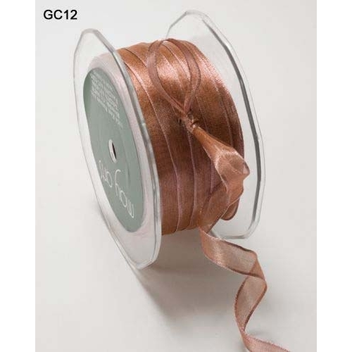 "3/8"" Organdy Ribbon - Iridescent Peach"