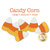 6 candy corn applique shapes colored yellow, orange, and white.