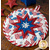 The center star design of the America the Beautiful Folded Star Hot Pad