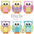 Large owl applique shapes measure 5 inches from head to toe.