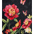 Beautiful pink flowers on a black background in the Pink Garden Panel Quilt Kit