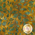 Green leaves all over mottled yellow/bronze batik | Shabby Fabrics